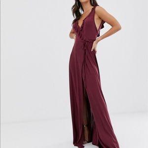 ASOS DESIGN Tall ruffle wrap maxi dress tie detail